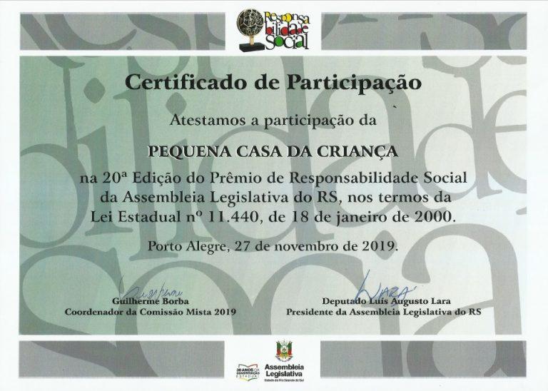 Certificado Responsabilidade Social 2019